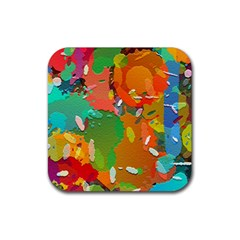 Background Colorful Abstract Rubber Coaster (square)