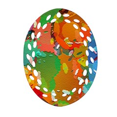 Background Colorful Abstract Oval Filigree Ornament (two Sides)
