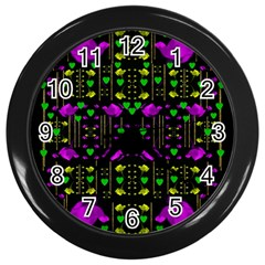 Pure Roses In The Rose Garden Of Love Wall Clocks (black)