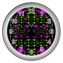 Pure Roses In The Rose Garden Of Love Wall Clocks (silver)