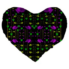 Pure Roses In The Rose Garden Of Love Large 19  Premium Heart Shape Cushions