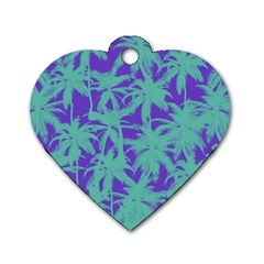 Electric Palm Tree Dog Tag Heart (two Sides)