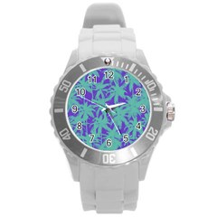 Electric Palm Tree Round Plastic Sport Watch (l)