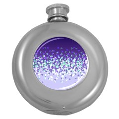 Purple Disintegrate Round Hip Flask (5 Oz)