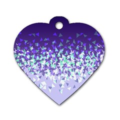 Purple Disintegrate Dog Tag Heart (two Sides)