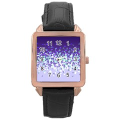Purple Disintegrate Rose Gold Leather Watch