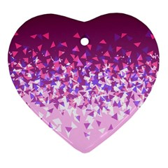 Pink Disintegrate Heart Ornament (two Sides)