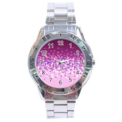 Pink Disintegrate Stainless Steel Analogue Watch