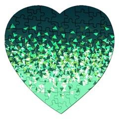Green Disintegrate Jigsaw Puzzle (heart)