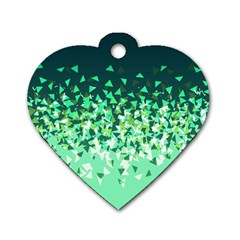 Green Disintegrate Dog Tag Heart (one Side)