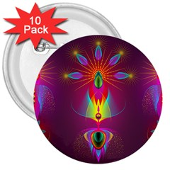 Abstract Bright Colorful Background 3  Buttons (10 Pack)