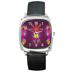 Abstract Bright Colorful Background Square Metal Watch