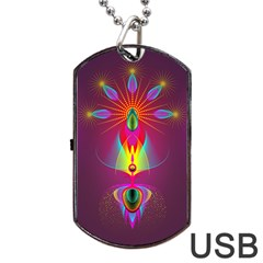 Abstract Bright Colorful Background Dog Tag Usb Flash (one Side)