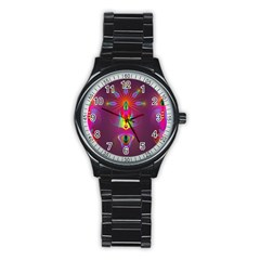 Abstract Bright Colorful Background Stainless Steel Round Watch