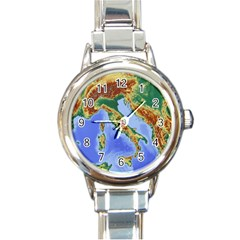 Italy Alpine Alpine Region Map Round Italian Charm Watch