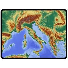 Italy Alpine Alpine Region Map Double Sided Fleece Blanket (large)