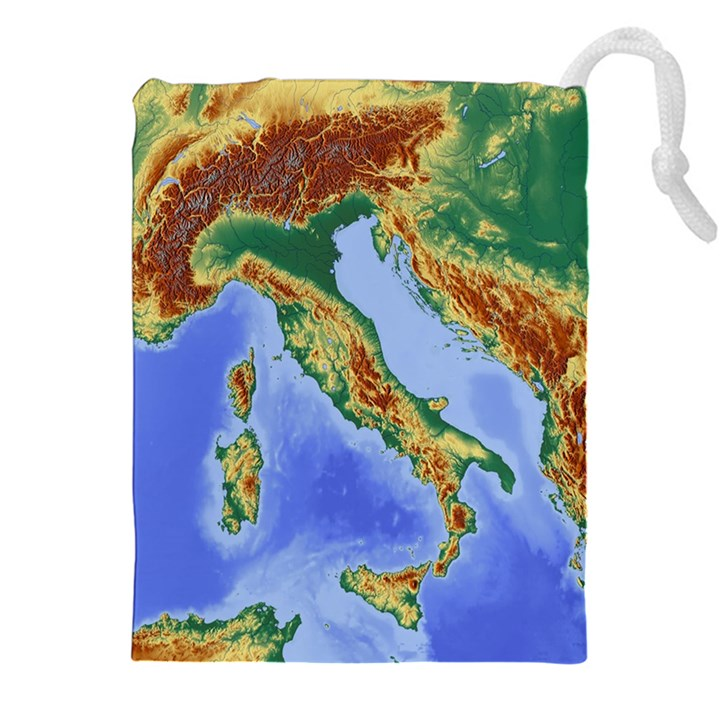 Italy Alpine Alpine Region Map Drawstring Pouches (XXL)