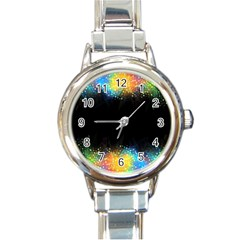 Frame Border Feathery Blurs Design Round Italian Charm Watch