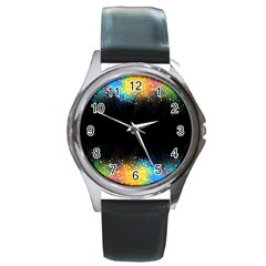 Frame Border Feathery Blurs Design Round Metal Watch