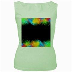 Frame Border Feathery Blurs Design Women s Green Tank Top