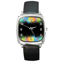 Frame Border Feathery Blurs Design Square Metal Watch