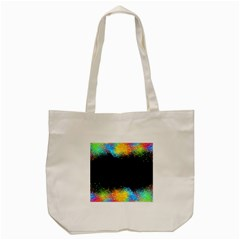 Frame Border Feathery Blurs Design Tote Bag (cream)
