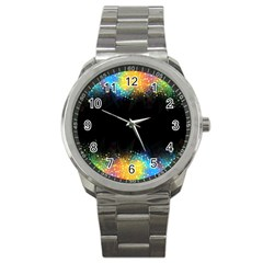 Frame Border Feathery Blurs Design Sport Metal Watch