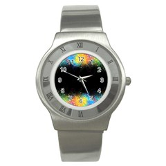 Frame Border Feathery Blurs Design Stainless Steel Watch