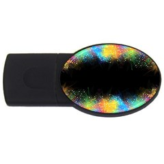 Frame Border Feathery Blurs Design Usb Flash Drive Oval (4 Gb)