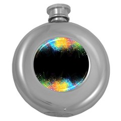 Frame Border Feathery Blurs Design Round Hip Flask (5 Oz)