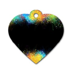 Frame Border Feathery Blurs Design Dog Tag Heart (two Sides)