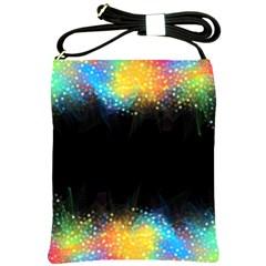 Frame Border Feathery Blurs Design Shoulder Sling Bags