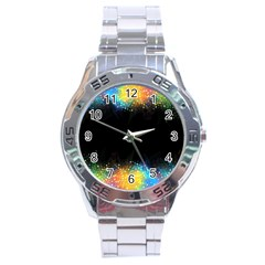 Frame Border Feathery Blurs Design Stainless Steel Analogue Watch