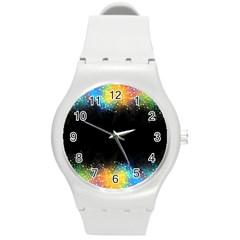 Frame Border Feathery Blurs Design Round Plastic Sport Watch (m)