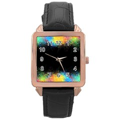 Frame Border Feathery Blurs Design Rose Gold Leather Watch