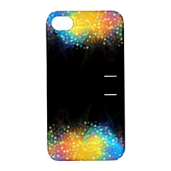 Frame Border Feathery Blurs Design Apple Iphone 4/4s Hardshell Case With Stand