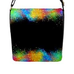 Frame Border Feathery Blurs Design Flap Messenger Bag (l)