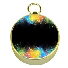 Frame Border Feathery Blurs Design Gold Compasses