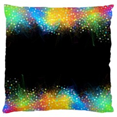Frame Border Feathery Blurs Design Large Flano Cushion Case (two Sides)