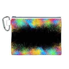 Frame Border Feathery Blurs Design Canvas Cosmetic Bag (l)