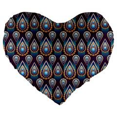 Seamless Pattern Pattern Large 19  Premium Flano Heart Shape Cushions