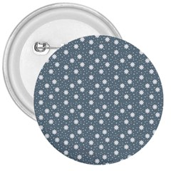 Floral Dots Blue 3  Buttons