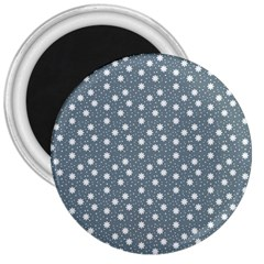 Floral Dots Blue 3  Magnets