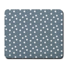 Floral Dots Blue Large Mousepads