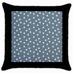 Floral Dots Blue Throw Pillow Case (black)