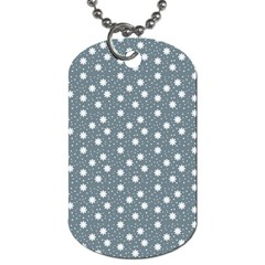 Floral Dots Blue Dog Tag (one Side)