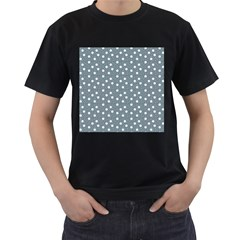 Floral Dots Blue Men s T Shirt (black) (two Sided)