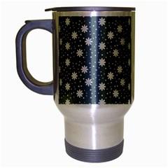 Floral Dots Blue Travel Mug (silver Gray)