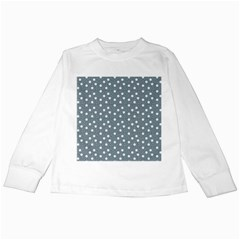 Floral Dots Blue Kids Long Sleeve T Shirts