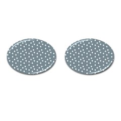 Floral Dots Blue Cufflinks (oval)